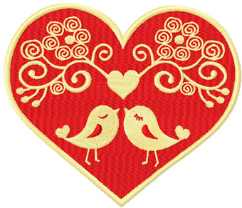 Two love birds machine embroidery design