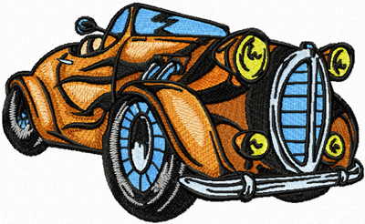 Hot Rod with flaming art machine embroidery design