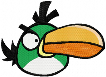 Angry birds green logo machine embroidery design