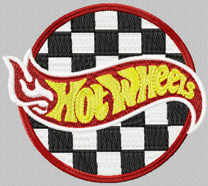 Auto Racing Wheels on Hot Wheels Racing Logo Machine Embroidery Design For Sport Uniform