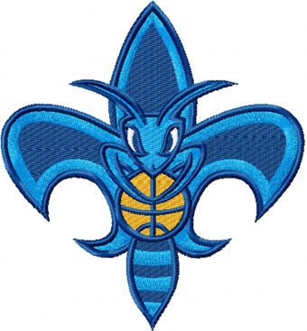 New Orleans Hornet mascot logo embroidery design
