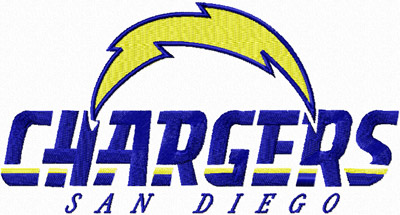 San Diego Chargers logo machine embroidery design
