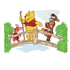 Winnie Pooh, Tiger and Piglet on the bridge