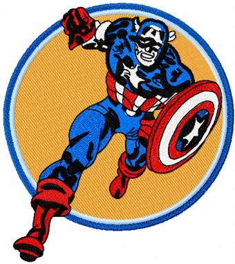 Captain America Attack Machine Embroidery Design