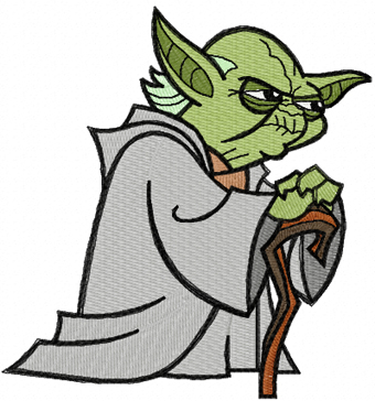 Yoda Think Embroidery Design