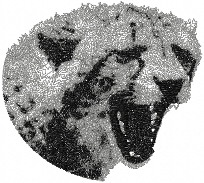 Jaguar attack embroidery design