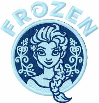 Frozen blue ice embroidery design