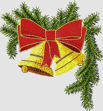 Christmas Bells on a branch machine embroidery design