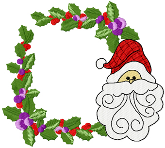 Christmas border with Santa face machine embroidery design