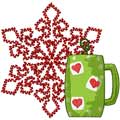 Christmas Tea machine embroidery design