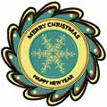 Merry Christmas badge machine embroidery design