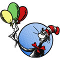 dr.Seuss Cat in the hat with balloons machine embroidery design