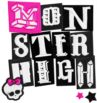 Monster High logo machine embroidery design