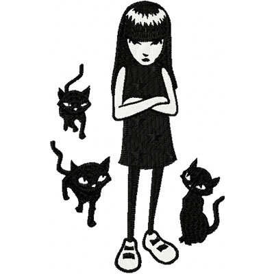 Emily the strange with cats embroidery design