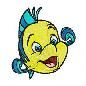 Flounder machine embroidery design