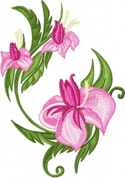 Elegant oriental flower machine embroidery design for