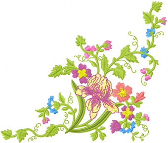 Flowers garden machine embroidery design