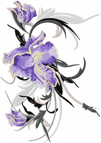 embroidery design big iris flower
