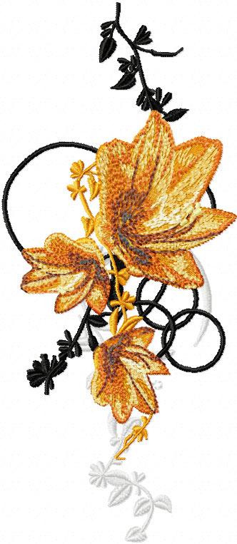 Oriental Flower machine embroidery designOriental Flower Design