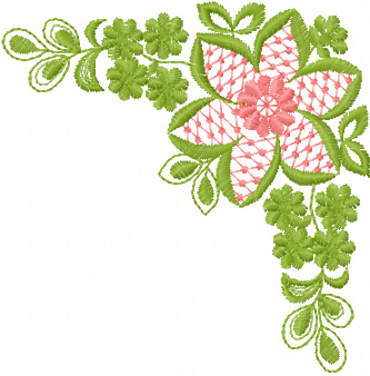 Free flower corner machine embroidery design