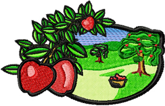 Apple Garden Free machine embroidery design for quilt