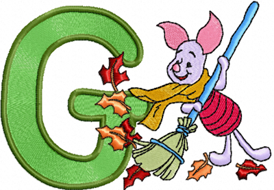 Free Embroidery Design Piglet Letter G Machine