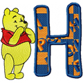 Winnie Pooh alphabet free machine embroidery design