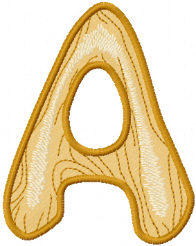 Wooden letter A free machine embroidery design