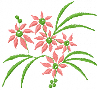 Flowers bouquet free machine embroidery design