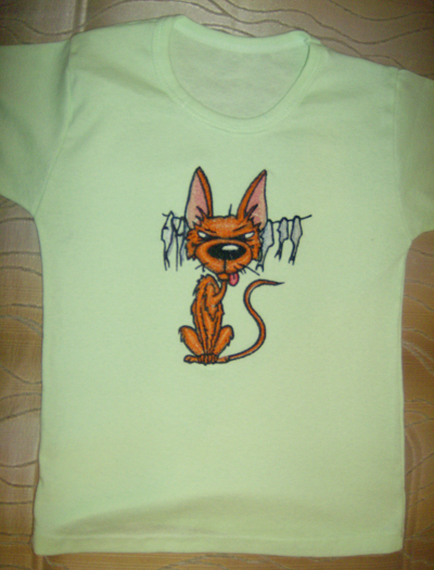 embroidered t-shirt with funny dog design