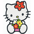 Hello Kitty with sea of flowers machine embroidery design
