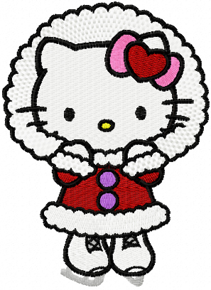Hello Kitty Winter skating machine embroidery design