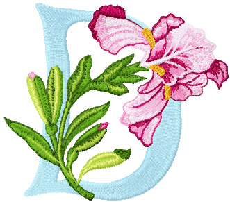 Iris Letter D Free Embroidery Design Machine