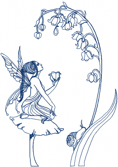 Fairy and flower free machine embroidery design