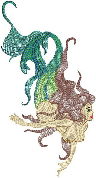 Mermaid machine embroidery designs makaroka