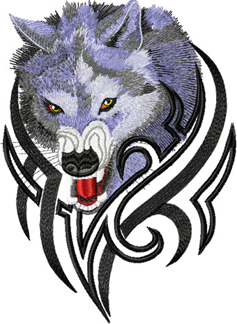 Tribal Wolf Machine Embroidery Design