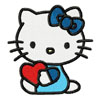 Hello Kitty with heart embroidery design