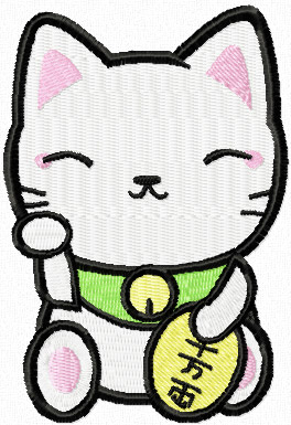 Maneki Neko clever kitty machine embroidery design