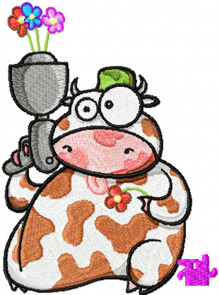 Cow with flower*s gun free machine embroidery design