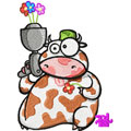 Free embroidery design Cow with Flower*s Gun