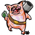 Free embroidery design Very busy Pig - Manimals