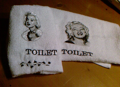 Marilyn Monroe embroidered towels