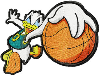 Donald Duck basketball fan machine embroidery design
