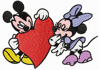 mickey and minnie mouse valentines day machine embroidery design