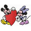 Mickey and Minnie Mouse Valentine's day machine embroidery design