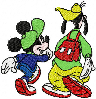 Mickey Mouse and Goofy machine embroidery design