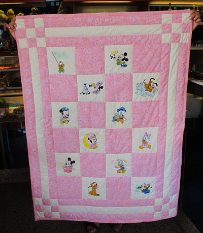 Quilt with MIckey Mouse, Pluto, Minnie machine embroidery designs