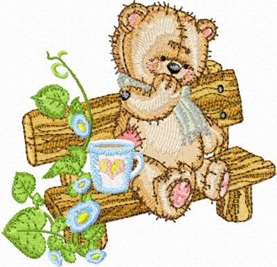 Teddy bear on the bench in the garden machine embroidery for Garden embroidery designs free