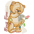 Teddy Bear with flower machine embroidery design