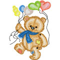 Bear with balloons machine embroidery design